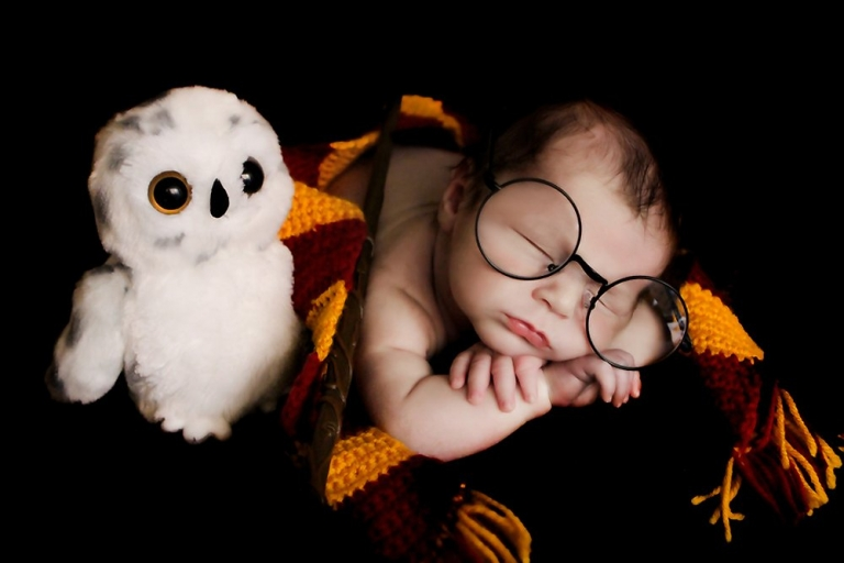 Harry Potter themed newborn photosession. Baby William is laying  holding a wand, Harry Potter round glasses, a stuffed owl, and wearing a Gryffindor Scarf